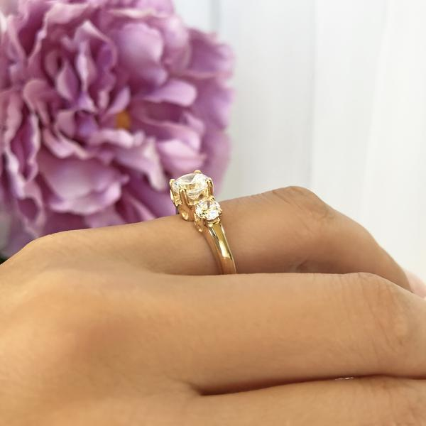 2 Carat Three Round Cut Stones Filigree Engagement Ring in Yellow Gold over Sterling Silver