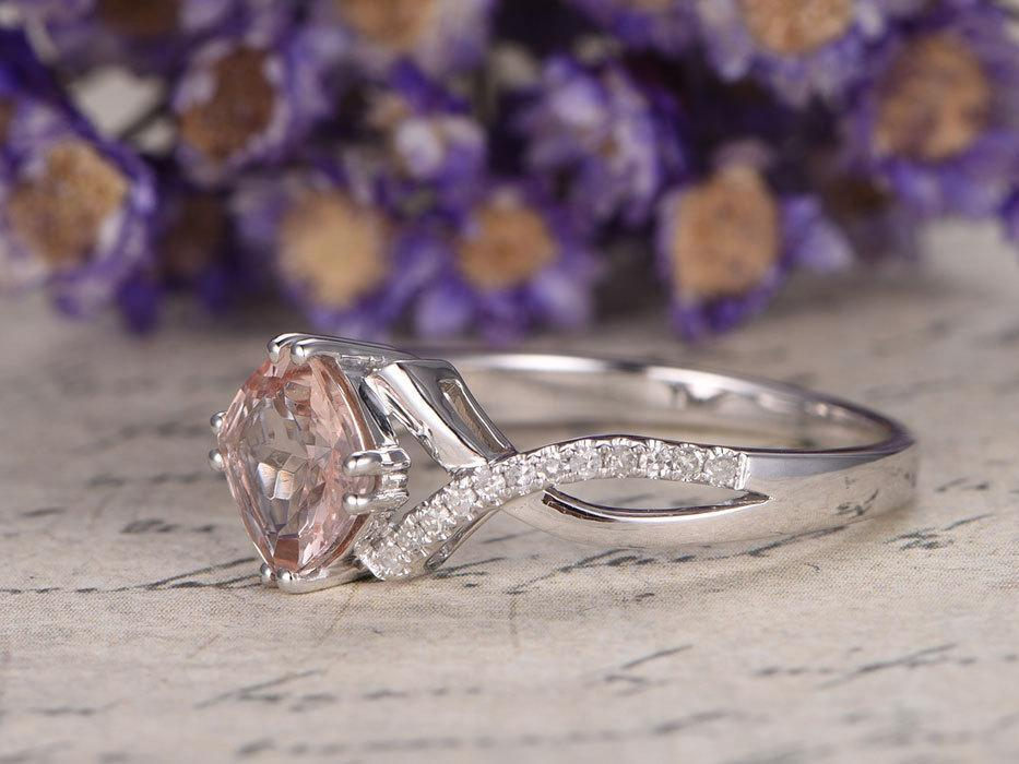 1.25 Carat Cushion Cut Morganite and Diamond Engagement Ring in White Gold