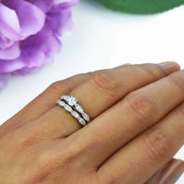 0.5 Carat Round Cut Wide Art Deco Solitaire Engagement Ring and Wedding Band Set in White Gold over Sterling Silver