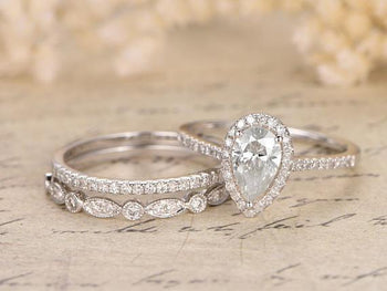 2 Carat Pear Cut Moissanite and Diamond Wedding Ring Trio Set in White Gold