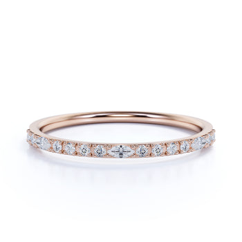 Semi Eternity Stacking Ring with Marquise and Round Shape Diamonds in Rose Gold