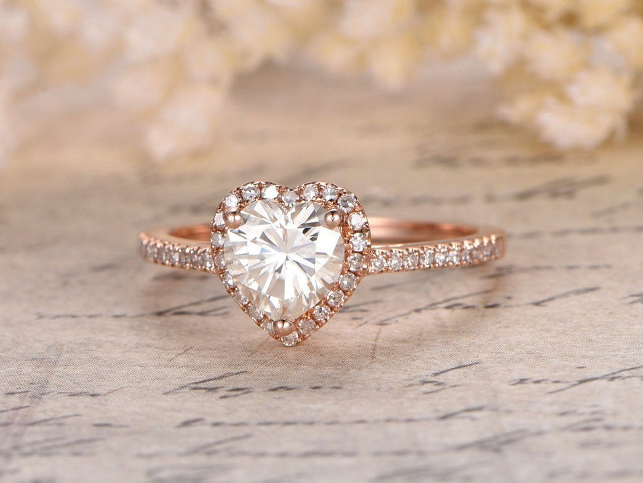1.25 Carat Heart Shape Moissanite and Diamond Engagement Ring in Rose Gold