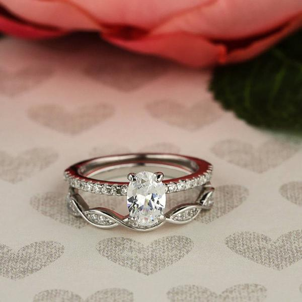 1.5 Carat Oval Cut Swirl Art Deco Wedding Ring Set in White Gold over Sterling Silver