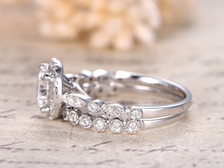 2 Carat Round Cut Moissanite and Diamond Wedding Ring Set in White Gold