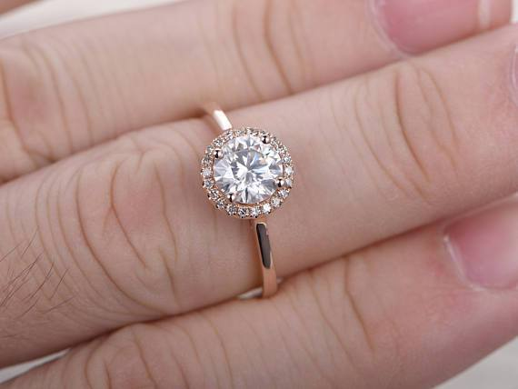 1.25 Carat Round Cut Moissanite and Diamond Wedding Ring in Rose Gold