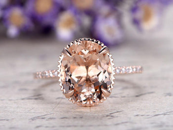 Huge 3 Carat Antique Design Morganite and Diamond Oval Cut Engagement Ring in Rose Gold