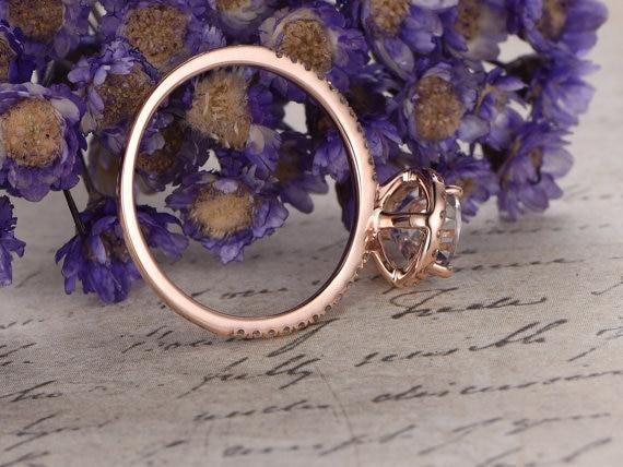 Limited Time Sale 1.50 Carat Pear Cut Morganite and Diamond Halo Engagement Ring in Rose Gold