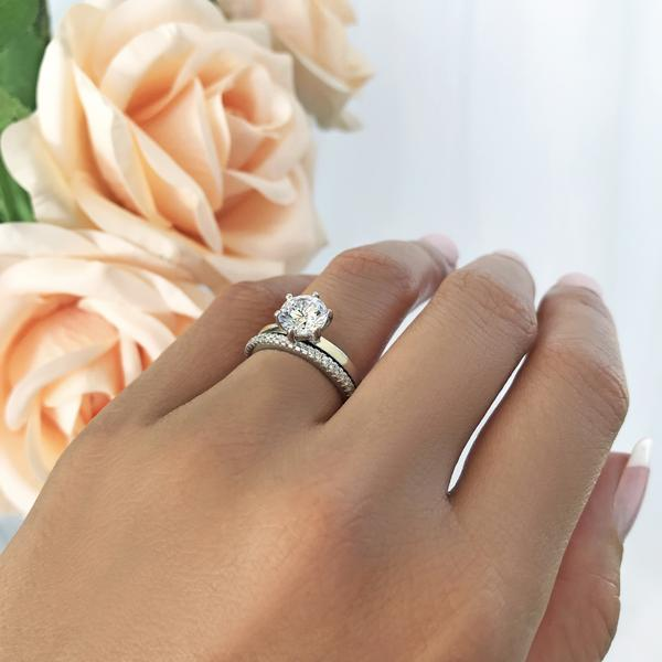 1.5 Carat Round Cut Six Prongs Solitaire Bridal Ring Set in White Gold over Sterling Silver