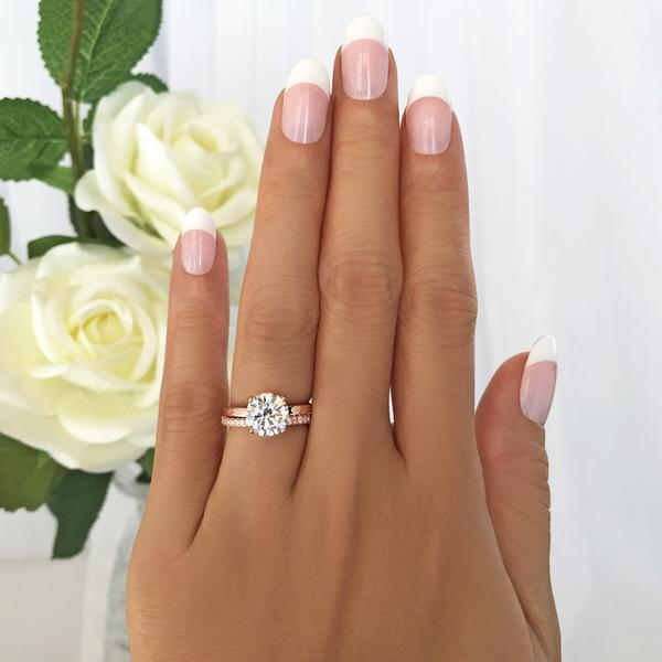 2.25 Carat Round Cut Four Prongs Solitaire Bridal Ring Set in Rose GP over Sterling Silver