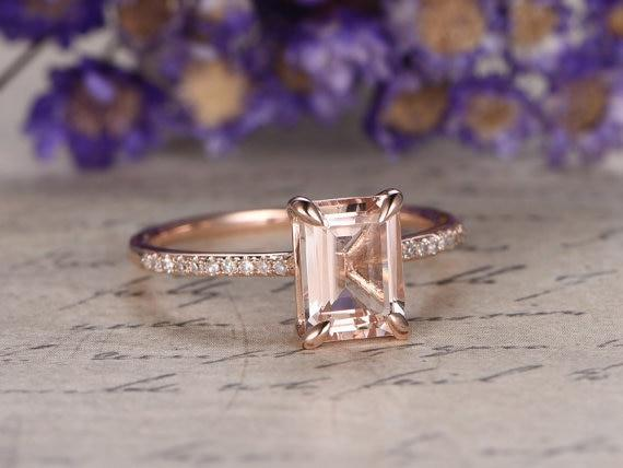 Bestselling 1.25 Carat Emerald Cut Morganite and Diamond Engagement Ring in Rose Gold
