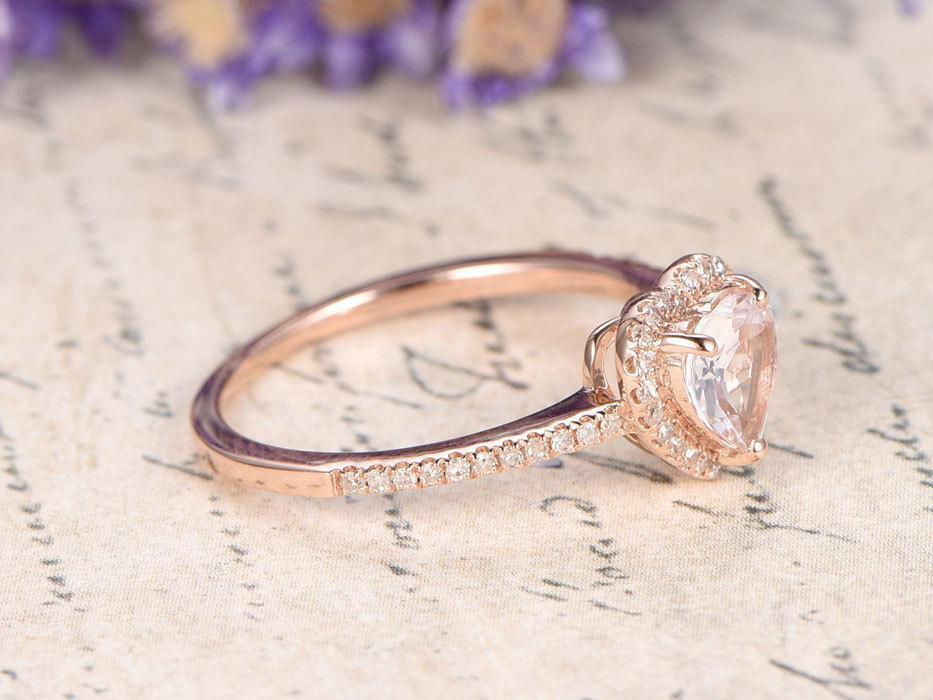 Beautiful 1.25 Carat Heart Shape Morganite and Diamond Engagement Ring in Rose Gold