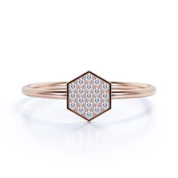 Hexagon Shaped Mini Stacking Ring in Rose Gold