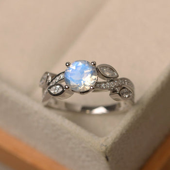 Leaf Design 1.50 Carat Round Cut Blue Moonstone and Diamond Channel Engagement Ring in White Gold