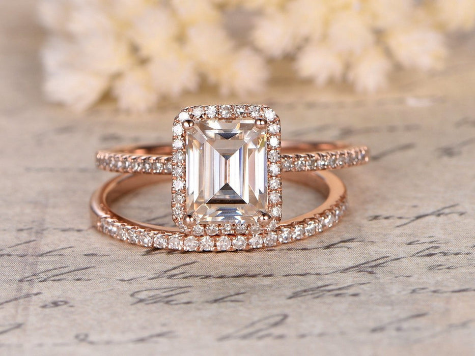 1.50 Carat Emerald Cut Moissanite and Diamond Halo Wedding Ring Set in Rose Gold
