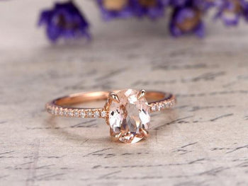 Bestselling 1.25 Carat Oval Cut Morganite and Diamond Engagement Ring in Rose Gold