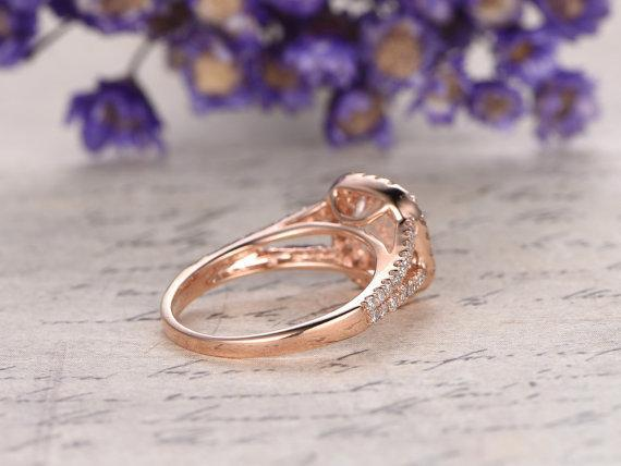 Limited Time Sale 1.50 Carat Round Cut Split Shank Morganite and Diamond Halo Engagement Ring in Rose Gold