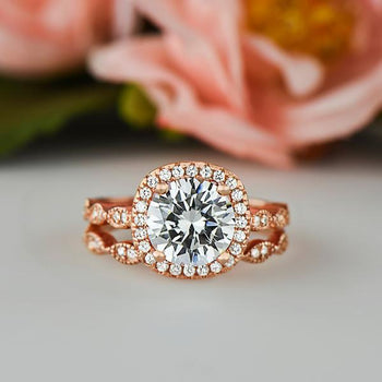 2.25 Carat Round Cut Art Deco Halo Bridal Ring Set in Rose Gold over Sterling Silver