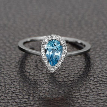 Perfect 1.25 Carat Pear Cut Aquamarine and Diamond Halo Engagement Ring in White Gold