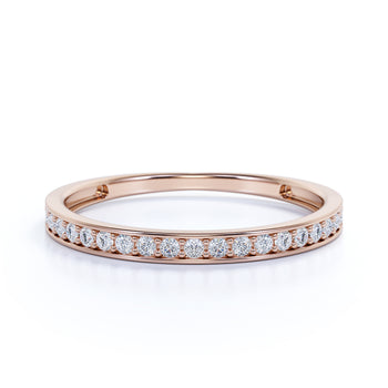 Classic Semi Eternity Stacking  Ring with Round Shape Diamonds in Rose Gold