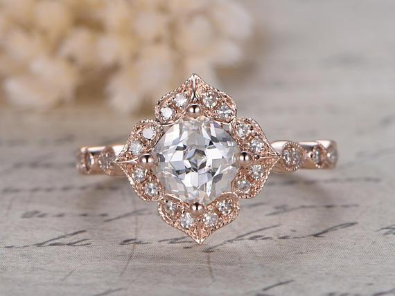 1.25 Carat Round Cut Bestselling Moissanite and Diamond Engagement Ring in Rose Gold