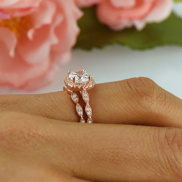1.25 Carat Round Cut Art Deco Halo Bridal Ring Set in Rose Gold over Sterling Silver