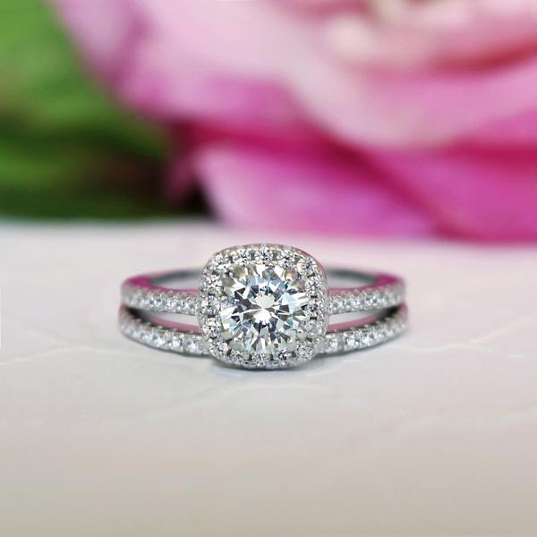 1.25 Carat Round Cut Square Halo Bridal Ring Set in White Gold over Sterling Silver
