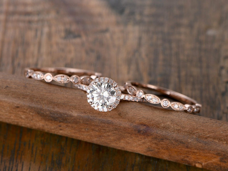 2 Carat Round Cut Antique Moissanite and Diamond Trio Ring Set in Rose Gold