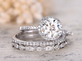 2 Carat Round Cut Antique Moissanite and Diamond Trio Ring Set in White Gold