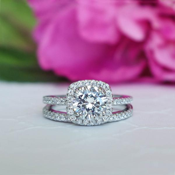2 Carat Round Cut Square Halo Bridal Ring Set in White Gold over Sterling Silver