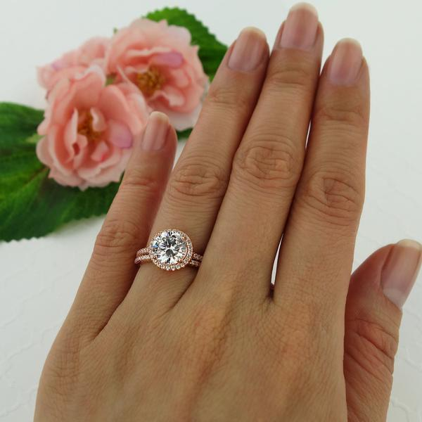 2.25 Carat Round Cut Classic Halo Bridal Ring Set in Rose Gold over Sterling Silver