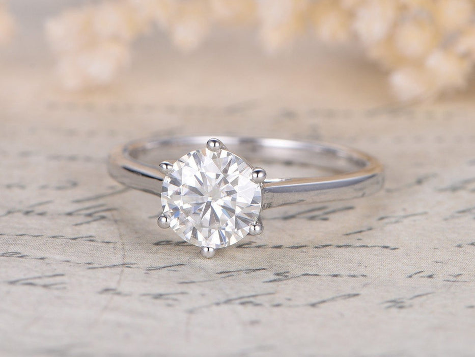1 Carat Round Cut Solitaire Moissanite Engagement Ring in White Gold
