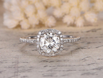 Antique 1.50 Carat Round Cut Moissanite and Diamond Halo Engagement Ring in White Gold