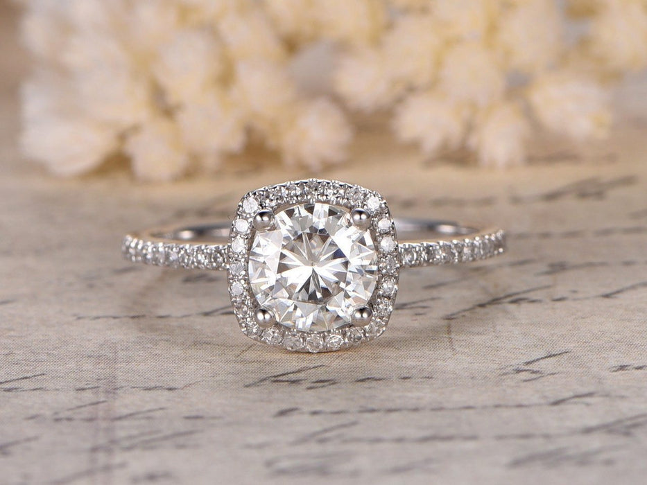 1.25 Carat Round Cut Moissanite and Diamond Engagement Ring in White Gold