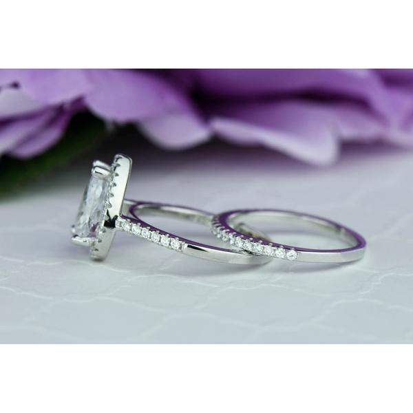 Huge 3 Carat Pear Cut Halo Bridal Ring Set in White Gold over Sterling Silver