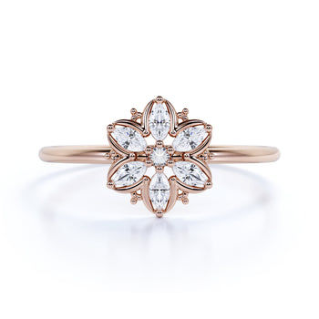 Exquisite Flower Shaped Stacking Ring with Marquise Cut Diamonds in Rose Gold