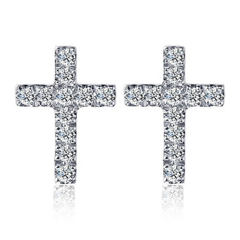 Cross Design .25 Carat Round Cut Diamond Stud Earrings in White Gold
