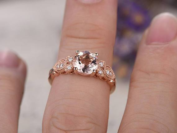 Antique Round Cut Morganite and Diamond 1.25 Carat Engagement Ring in Rose Gold
