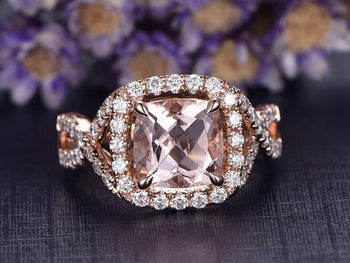 Huge 3 Carat Cushion Cut Morganite and Diamond Art Deco Wedding Ring in Rose Gold