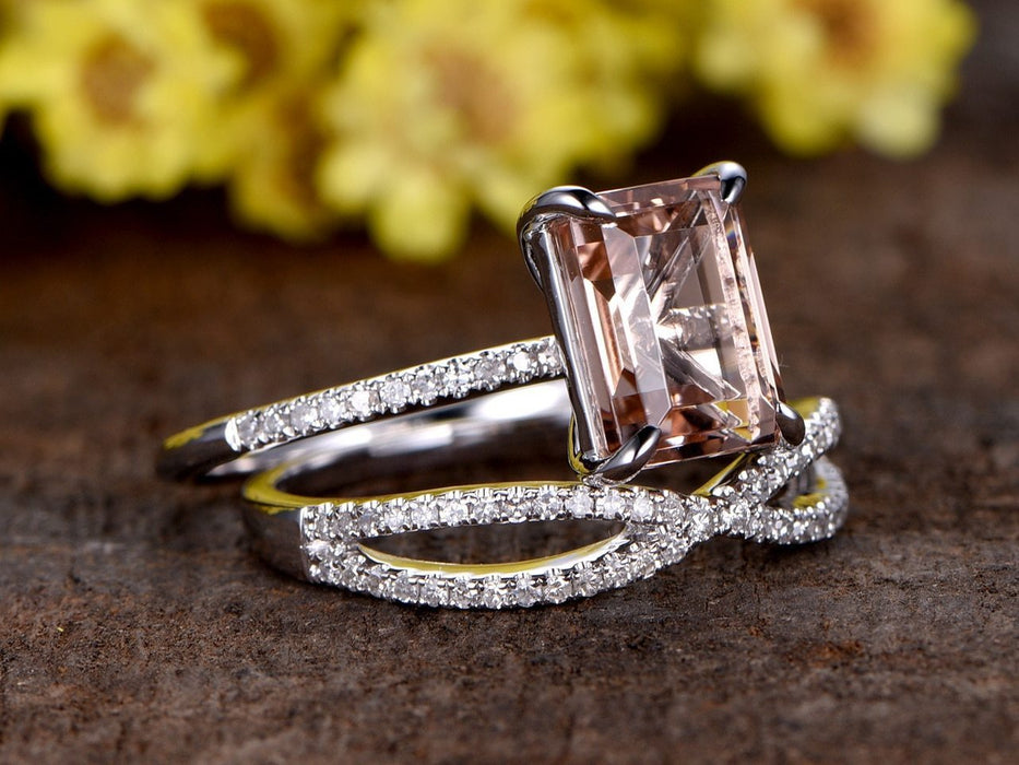 2 Carat Emerald Cut Infinity Design Morganite and Diamond Wedding Ring Set in White Gold