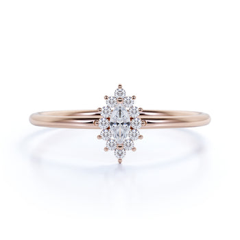 Elegant Diamond Stackable Ring with Marquise and Round Diamonds in Rose Gold