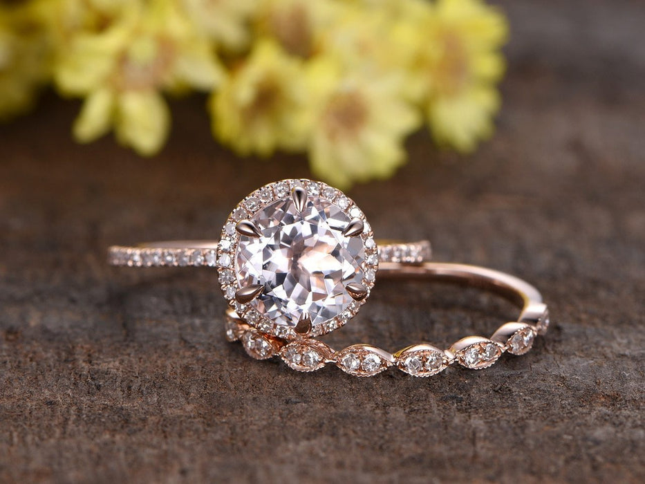 2 Carat Round Cut Morganite and Diamond Antique Art Deco Wedding Ring Set in Rose Gold