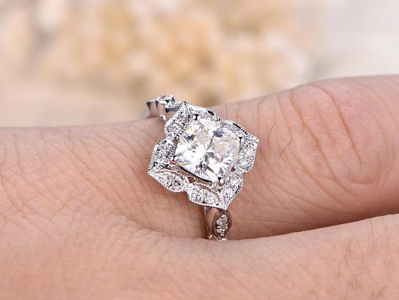 1.25 Carat Cushion Cut Moissanite and Diamond Wedding Ring in White Gold
