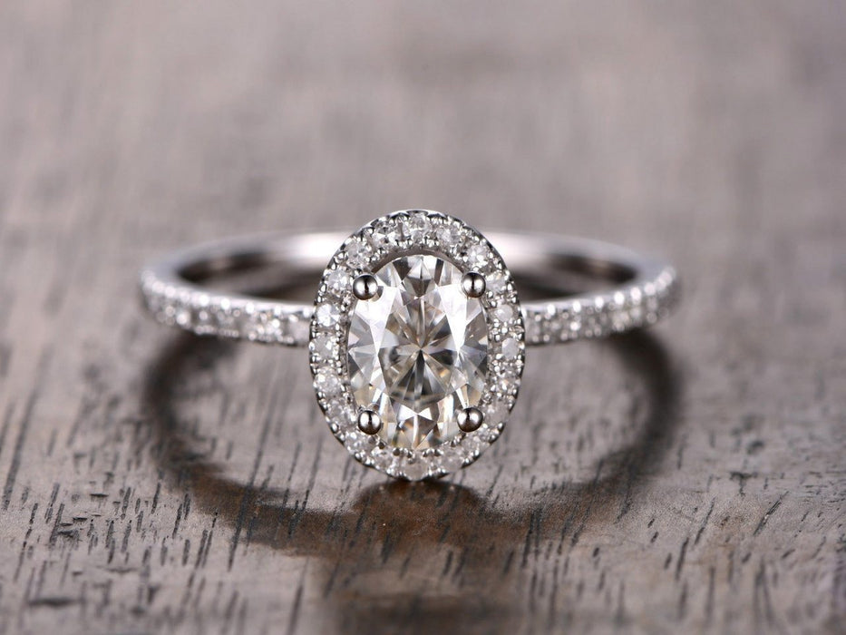 1.25 Carat Oval Cut Moissanite and Diamond Wedding Ring in White Gold