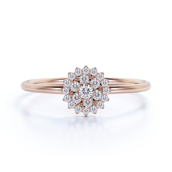 Stunning Flower Shape Mini Stacking Ring with Round Diamonds in Rose Gold