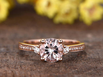 1.25 Carat Three Stone Round Cut Morganite and Diamond Trilogy Engagement Ring in Rose Gold