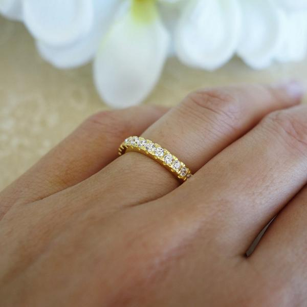 0.5 Carat Eternity Wedding Band in Yellow Gold over Sterling Silver