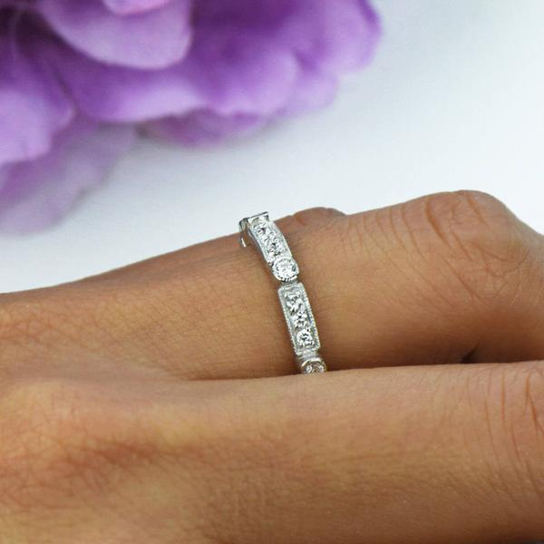 0.5 Carat Modern Art Deco Eternity Band in White Gold over Sterling Silver