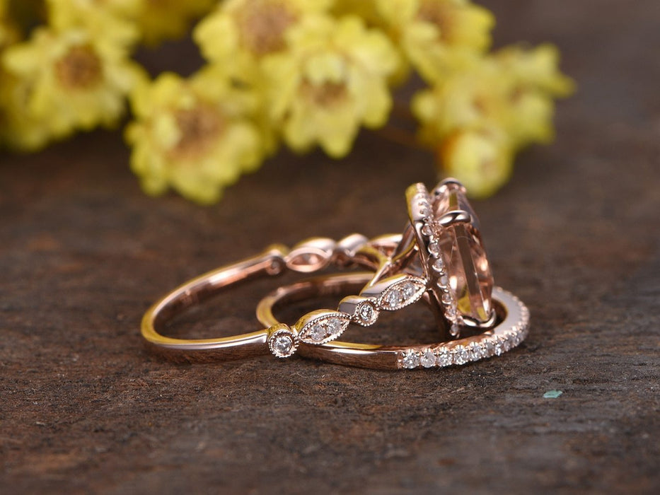 Art Deco 2 Carat Princess Cut Morganite and Diamond Halo Engagement Bridal Set in Rose Gold