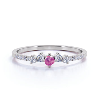 Stunning Pink Sapphire and White Diamonds Stacking Wedding Ring Band in White Gold