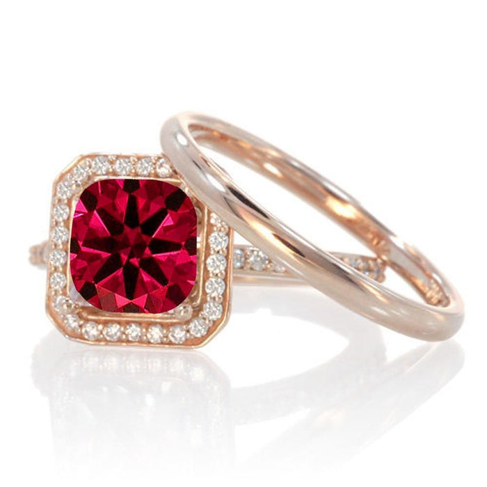1.5 Carat Bestselling Princess Halo Bridal Set with Ruby and Diamond on 9k Rose Gold